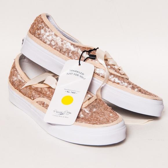 Vans Shoes | Champagne Gold Sequin Vans